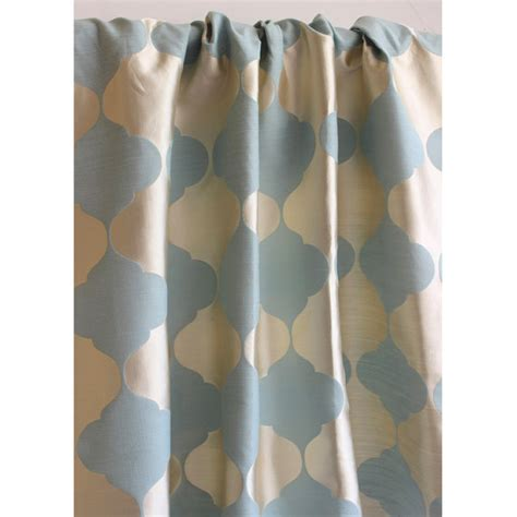 light blue and gold lotus curtain 52x84 rod pocket