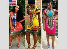 Women Traditional African Print Dashiki Dress Short Sleeve