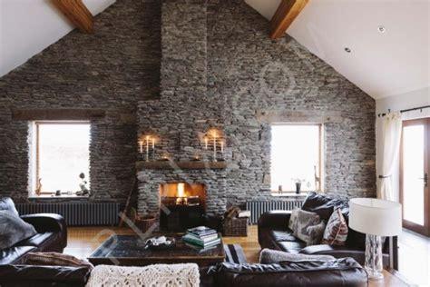 house  stone wall   living room interior