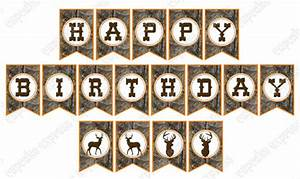 Camo Boy Hunting Banner Birthday Party PRINTABLE Happy
