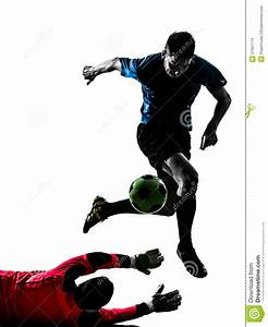 Two Men Soccer Player Goalkeeper Competition Silhouette ...