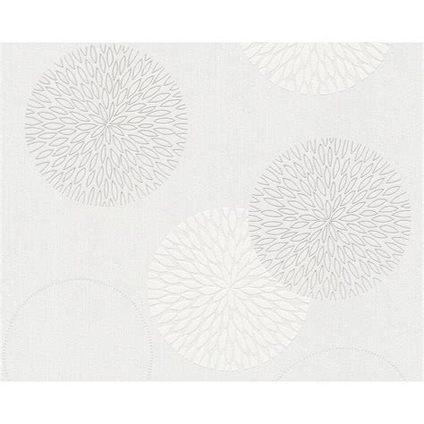 creation chic circle white  light grey floral