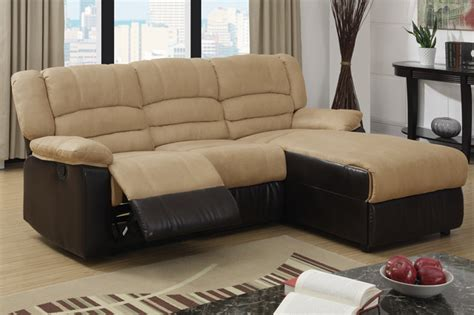 Hazelnut Microfiber Reclining Sectional Sofa Set Recliner