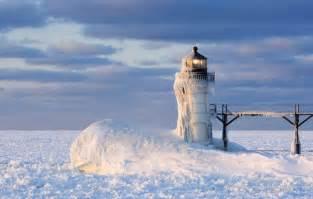 Frozen Lake Michigan Lighthouse Winter