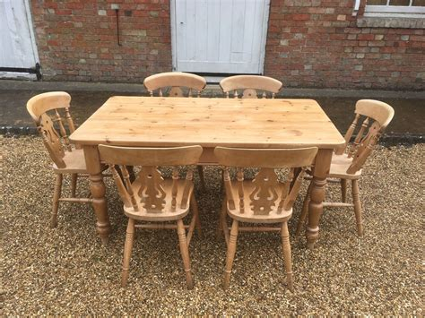 farmhouse pine dining table and 6 chairs 163 295 00