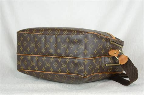 louis vuitton reporter lv monogram large side leather part damage brown canvas cross body bag