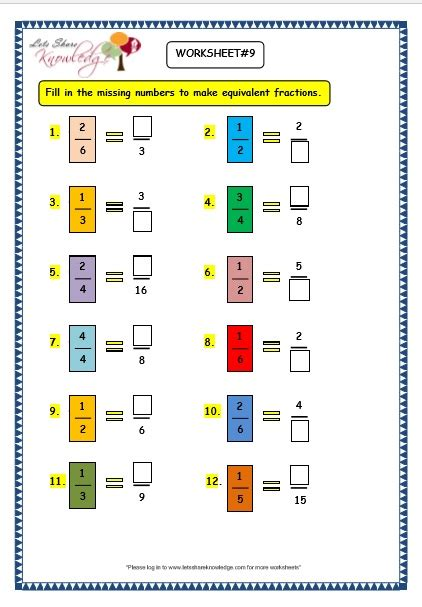 Naming Fractions Worksheets  Kidz Activities