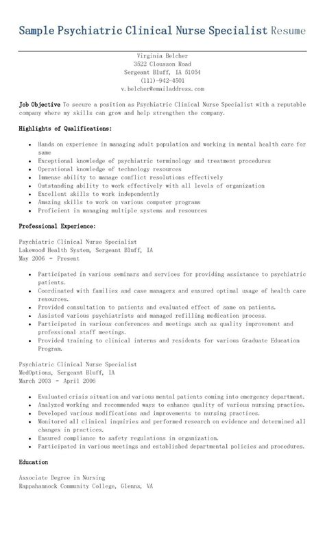 Clinical Resume Exles by Sle Psychiatric Clinical Specialist Resume