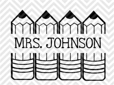school teacher pencil  tag monogram letters