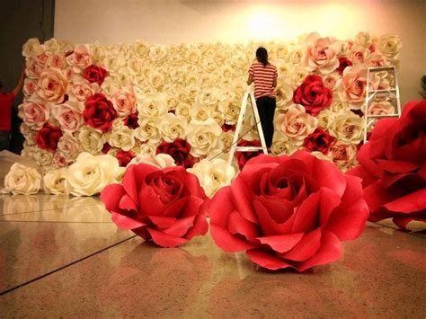 wedding paper flowers wall wedding ideas pinterest