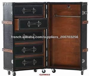 Antique Malle Armoire En Simili Cuir Croco Noir Mat Autres
