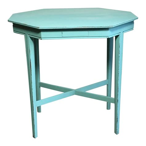 turquoise side table shabby chic turquoise side table chairish 2971