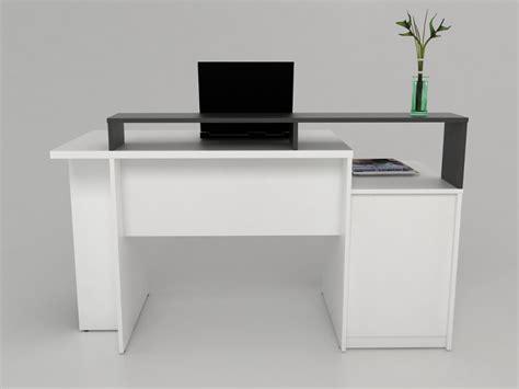 Bureau Zacharie  1 Tiroir & 1 Porte  Blanc & Gris