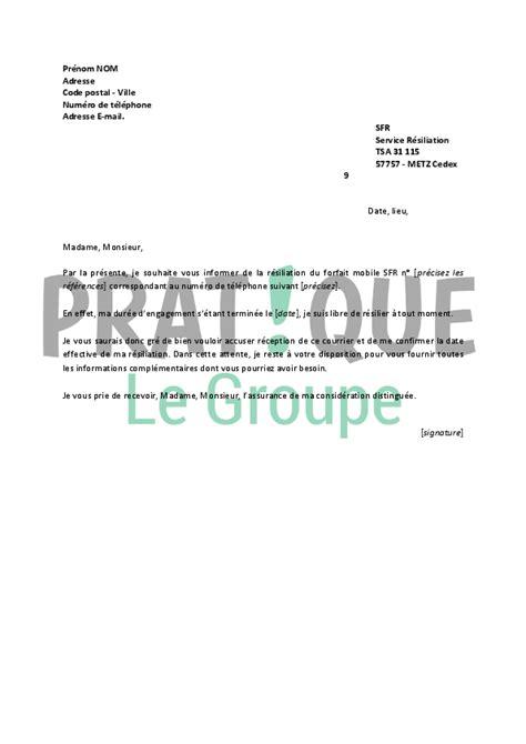 modele lettre resiliation sfr loi chatel modele lettre resiliation mobile sfr document
