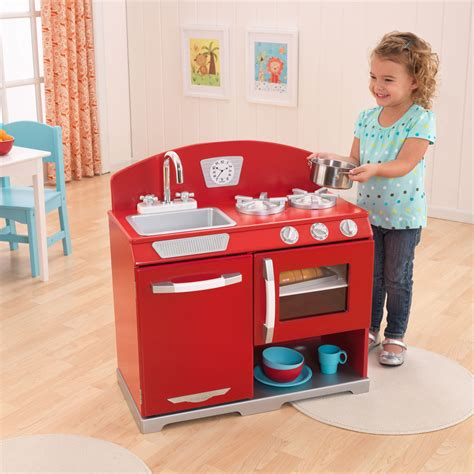kidkraft red retro kitchen stove oven kids wooden play set  ebay