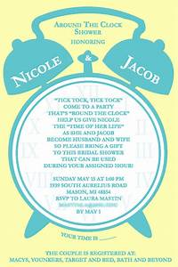 nicole bridal shower invite mollieb design With around the clock wedding shower