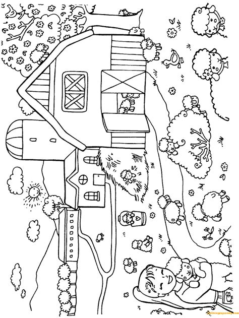 lambs   farm yard coloring page  coloring pages