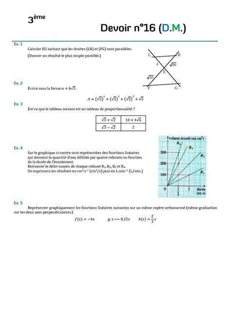 devoir maison 3eme math contr 244 les de maths en troisi 232 me et devoirs surveill 233 s de maths en 3 232 me