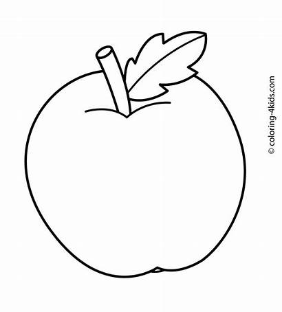 Coloring Simple Pages Printable Fruits Apple Olds