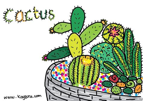 mewarnai bunga kaktus