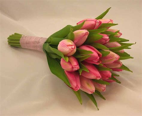 pink tulip bridal posy bouquet wedding bouquets silk