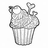 Coloring Cupcakes Cakes Pages Simple Printable Children Justcolor sketch template