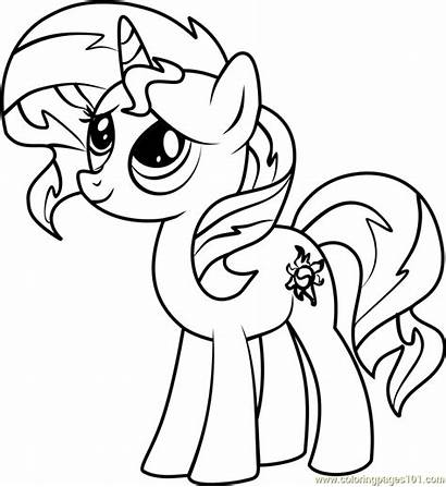 Shimmer Sunset Pony Coloring Pages Sheet Corn