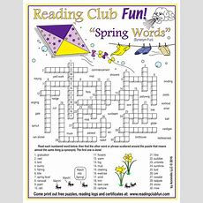 Spring Vocabulary (synonyms) Crossword Puzzle By Puzzlefun  Teaching Resources Tes