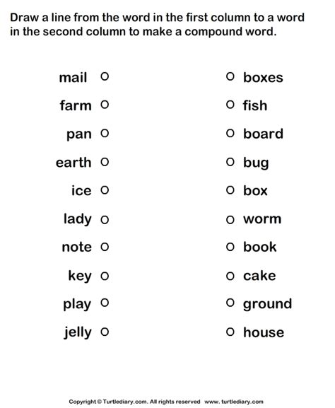 form compound words worksheet 4 turtle diary