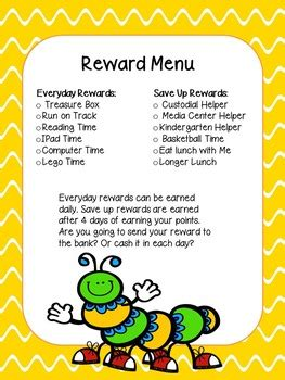 Behaviour Modification Rewards by Free Reward Menu For Behavior Charts By Counselor Up Tpt
