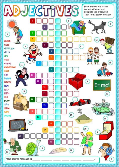 esl adjective worksheets kidz activities