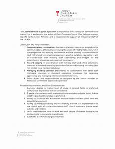 Minister Resume Sample Job Opening Administrative Support Specialist First