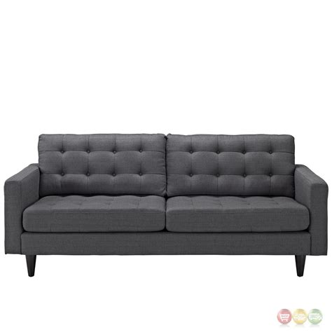Gray Contemporary Sofa by Empress Contemporary Button Tufted Upholstered Sofa Gray