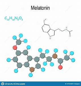 Melatonin  Chemical Structural Formula And Model Of