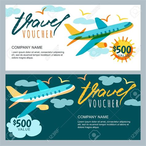 vector gift travel voucher template multicolor flying