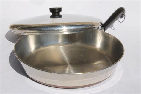 vintage revere ware copper clad bottom   skillet frying pan lid
