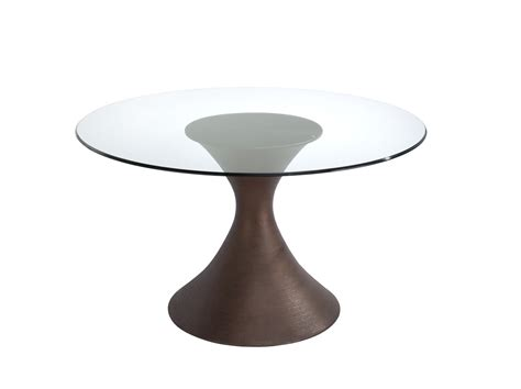 small round glass table round glass dining table with round dark brown wooden base