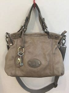 fossil long  vintage  distressed gray leather