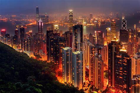 night   big city city landscape hong kong night skyscraper