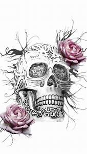 Skull Roses iPhone 5 Wallpaper (640x1136)