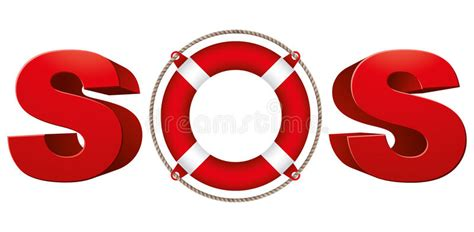 Sos Signal With Life Ring. Stock Vector