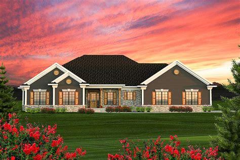 craftsman ranch   gables ah architectural designs house plans