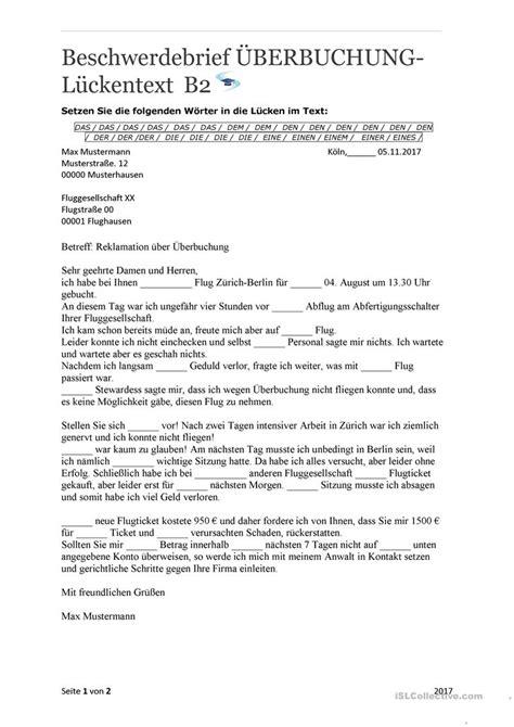 beschwerdebrief ueberbuchung mit loesungen arbeitsblatt
