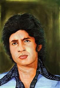 Young Amitabh Bachchan Portrait Painting by Arun Sivaprasad