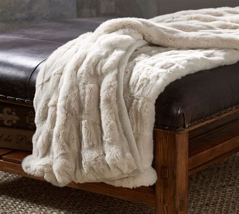 pottery barn throw ruched faux fur throw ivory pottery barn