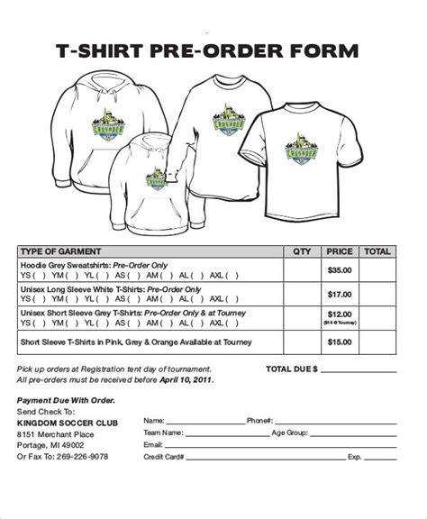 shirt order forms  sample  format