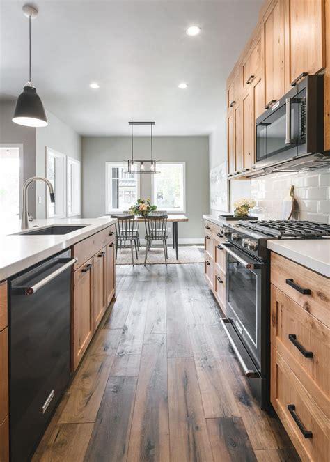 contemporary kitchen  natural wood cabinets hgtv