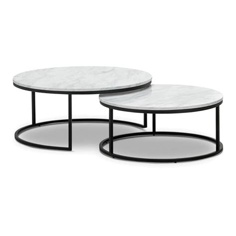 Stylish and dimensional white and gray marble coats the tops of these modern rectangular silver metal and marble accent tables. Khloe 2 Piece Cultured Marble & Stainless Steel Round Nesting Coffee Table Set, 95cm