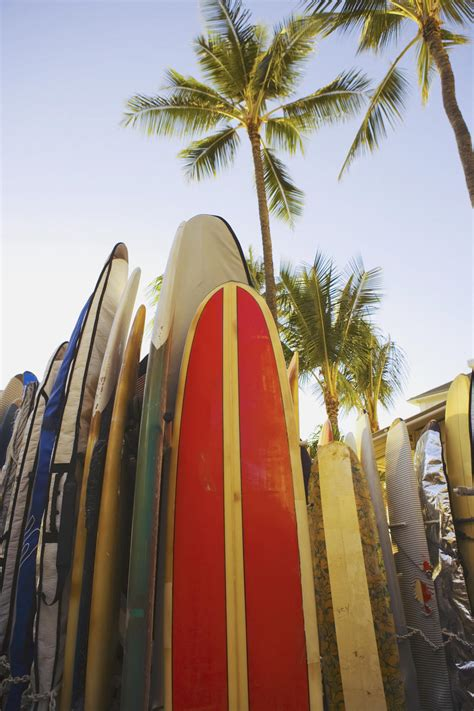 usa hawaii oahu close up view of colorful surfboards in