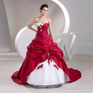 cheap red and white wedding dresses plus size ball gown With robe blanche et rouge
